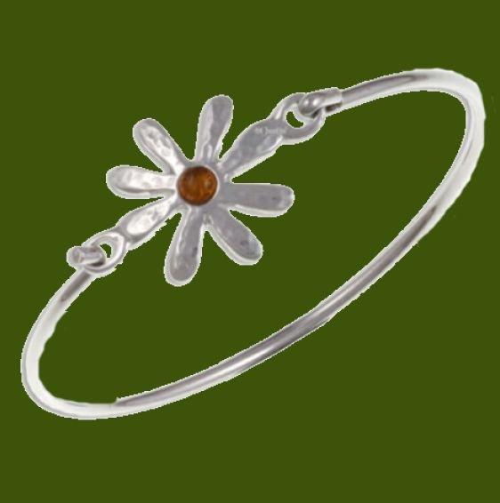 Image 0 of Dahlia Flower Symbol Amber Silver Plated Clip On Bangle