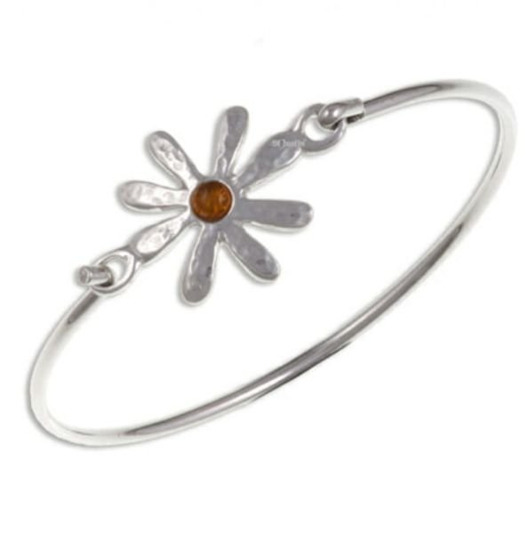 Image 1 of Dahlia Flower Symbol Amber Silver Plated Clip On Bangle