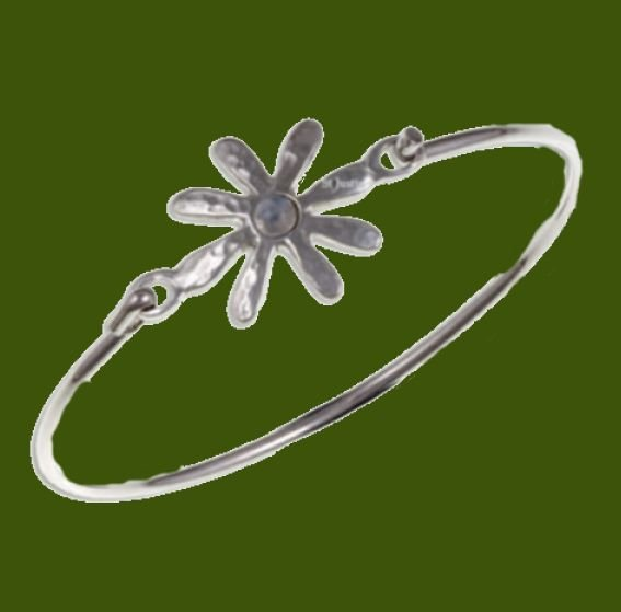 Image 0 of Dahlia Flower Symbol Rainbow Moonstone Silver Plated Clip On Bangle