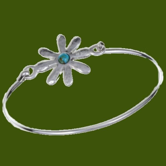 Image 0 of Dahlia Flower Symbol Turquoise Silver Plated Clip On Bangle