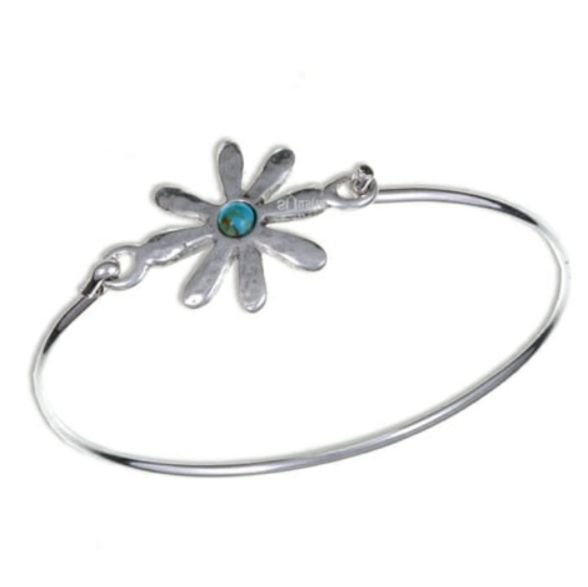 Image 1 of Dahlia Flower Symbol Turquoise Silver Plated Clip On Bangle