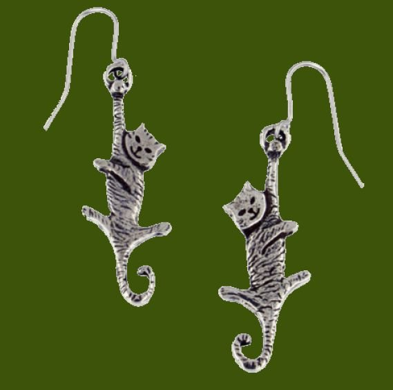 Image 0 of Dangling Cat Animal Themed Drop Sheppard Hook Stylish Pewter Earrings