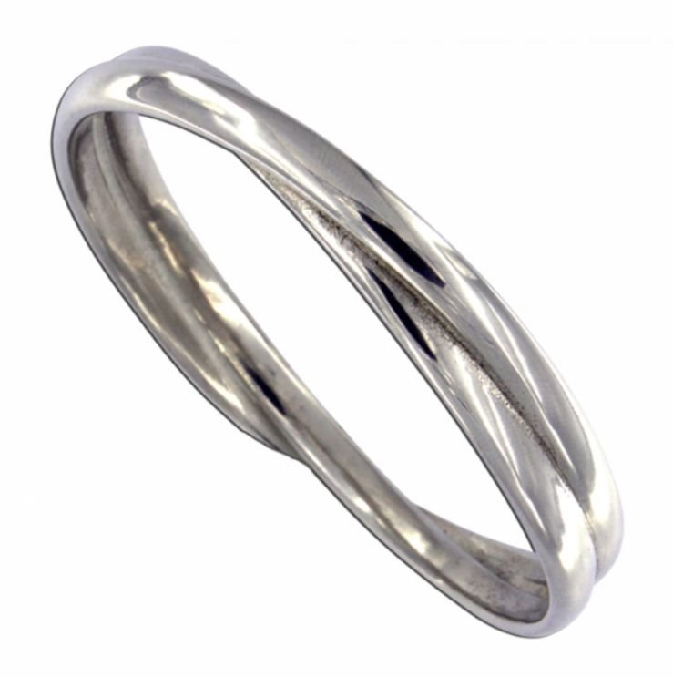 Image 1 of Double Entwined Loop Polished Medium Stylish Pewter Bangle