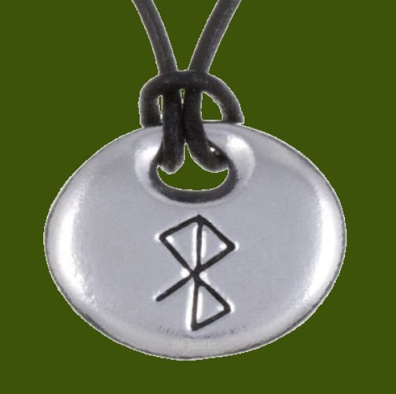 Image 0 of Peace Happiness Bind Rune Oval Smooth Wax Cord Stylish Pewter Pendant