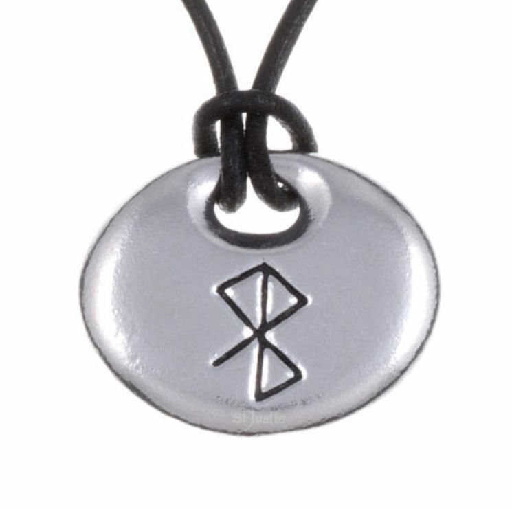 Image 1 of Peace Happiness Bind Rune Oval Smooth Wax Cord Stylish Pewter Pendant