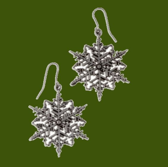 Image 0 of Snowflake Drop Sheppard Hook Stylish Pewter Earrings