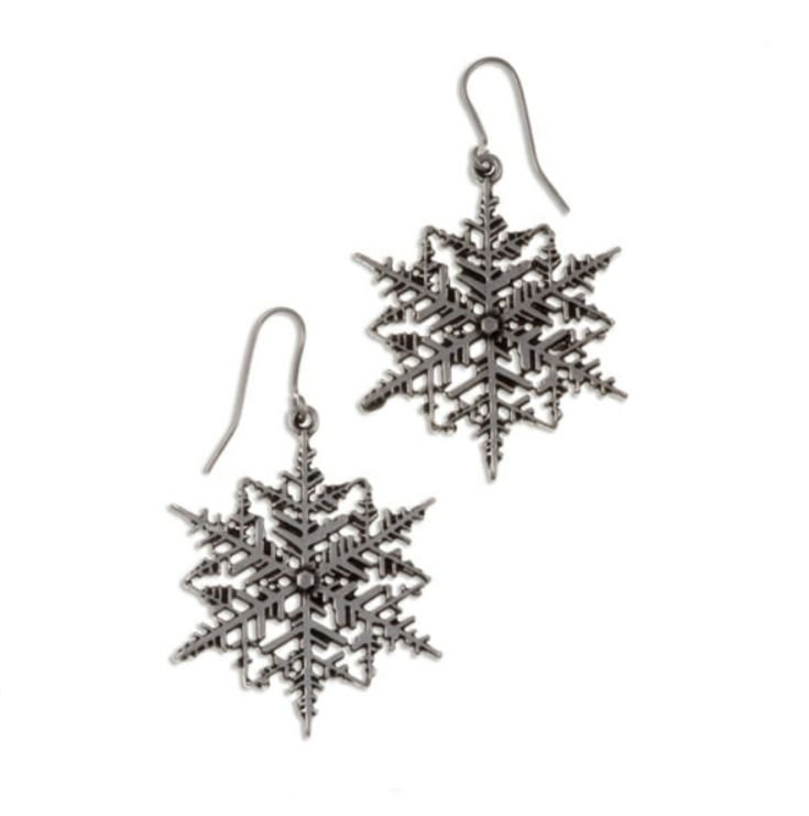 Image 1 of Snowflake Drop Sheppard Hook Stylish Pewter Earrings