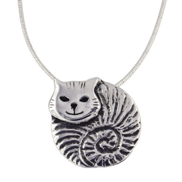 Image 1 of Fat Cat Animal Themed Stylish Pewter Pendant