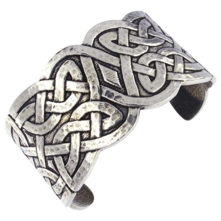 Image 1 of Celtic Knotwork Embossed Wide Cuff Stylish Pewter Bangle
