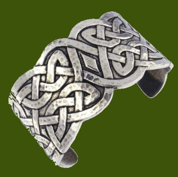 Image 0 of Celtic Knotwork Embossed Wide Cuff Stylish Pewter Bangle