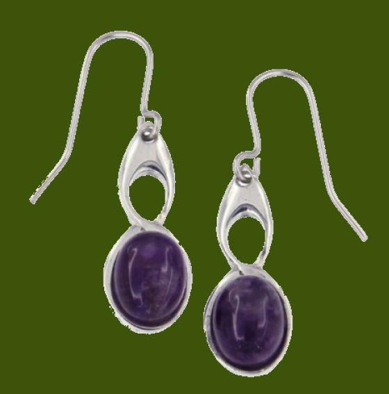 Image 0 of Celtic Bird Amethyst Stylish Pewter Sheppard Hook Earrings