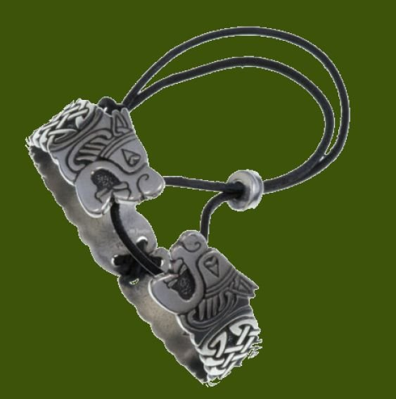 Image 0 of Twin Beast Embossed Leather Cord Hinged Large Stylish Pewter Bangle