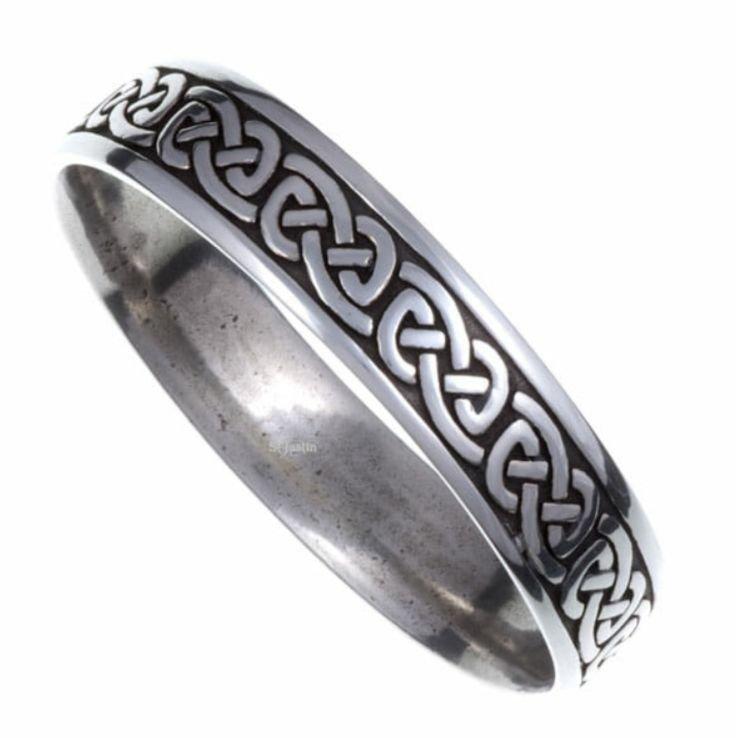 Image 1 of Celtic Knotwork Embossed Small Stylish Pewter Bangle