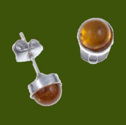 Amber Round Small Stud Stylish Pewter Earrings