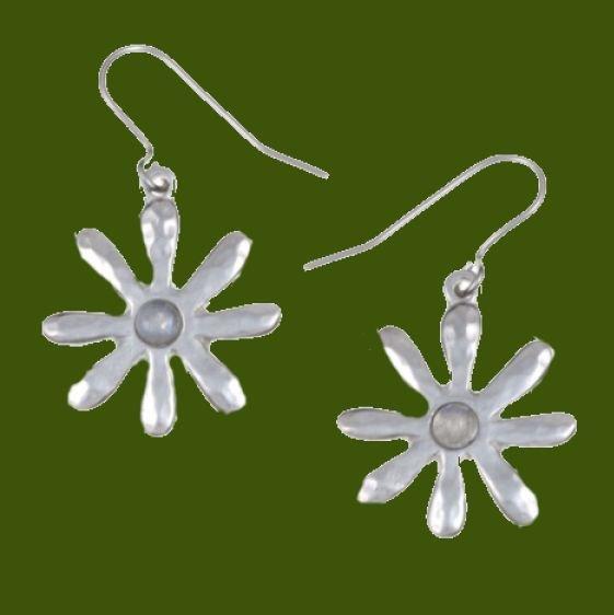 Image 0 of Dahlia Flower Rainbow Moonstone Stylish Pewter Sheppard Hook Earrings