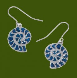 Ammonite Shell Blue Enamel Drop Sheppard Hook Stylish Pewter Earrings