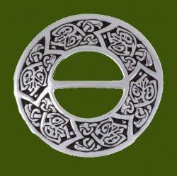 Celtic Bird And Chevron Symbols Round Stylish Pewter Scarf Slide