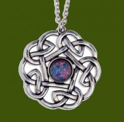 Celtic Pentagon Open Knotwork Opal Glass Stone Stylish Pewter Pendant