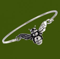 Bee Insect Themed Silver Plated Clip On Bangle