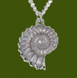 Ammonite Shell Marine Creature Small Stylish Pewter Pendant