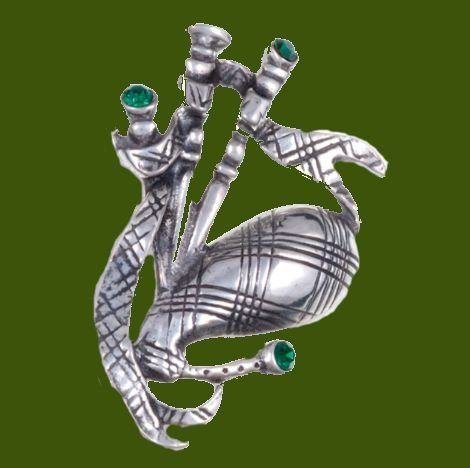 Image 0 of Bagpipe Green Crystal Stone Antiqued Stylish Pewter Brooch