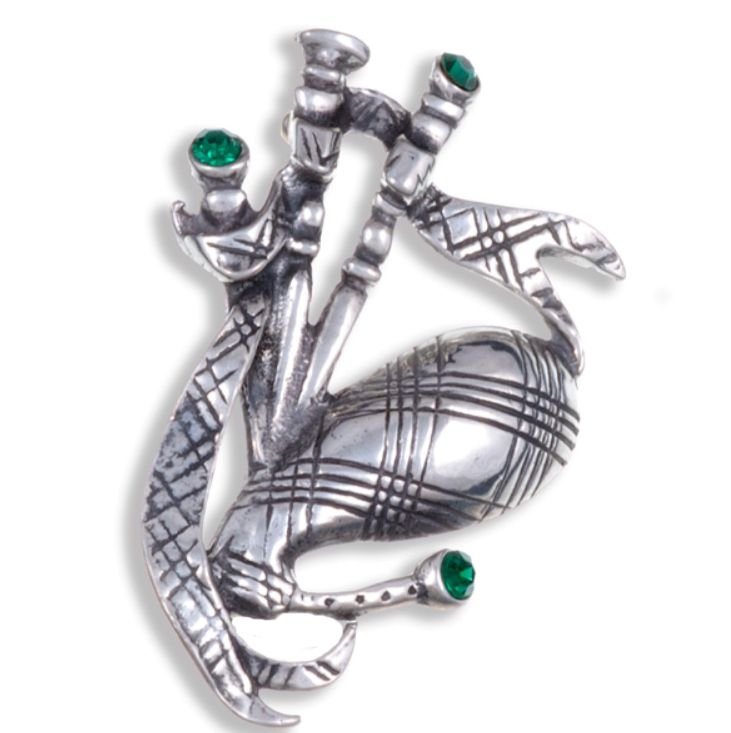 Image 1 of Bagpipe Green Crystal Stone Antiqued Stylish Pewter Brooch