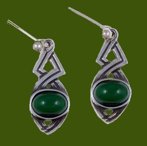 Image 0 of Celtic Twist Antiqued Green Glass Stone Stylish Pewter Sheppard Hook Earrings