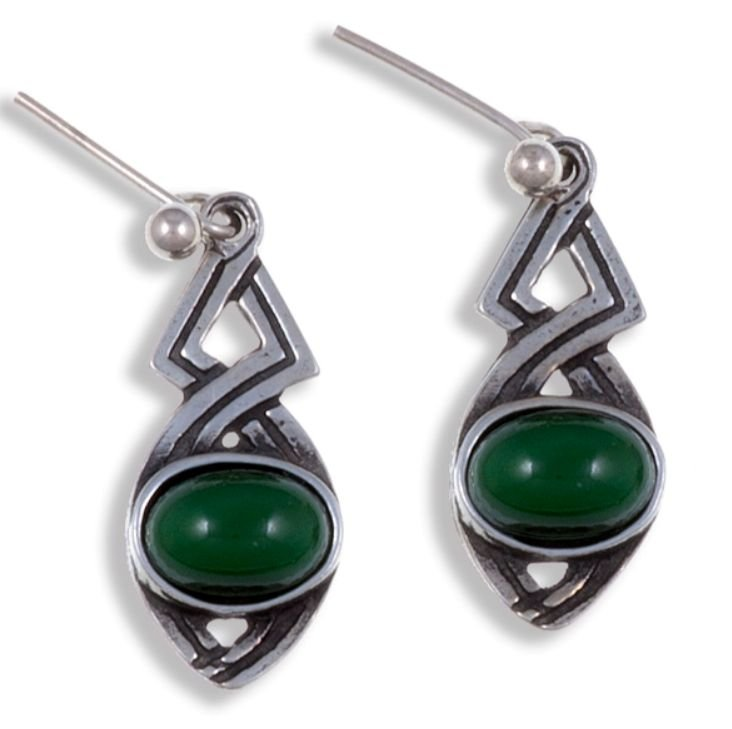 Image 1 of Celtic Twist Antiqued Green Glass Stone Stylish Pewter Sheppard Hook Earrings