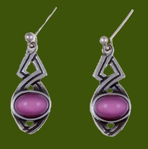 Image 0 of Celtic Twist Antiqued Red Glass Stone Stylish Pewter Sheppard Hook Earrings