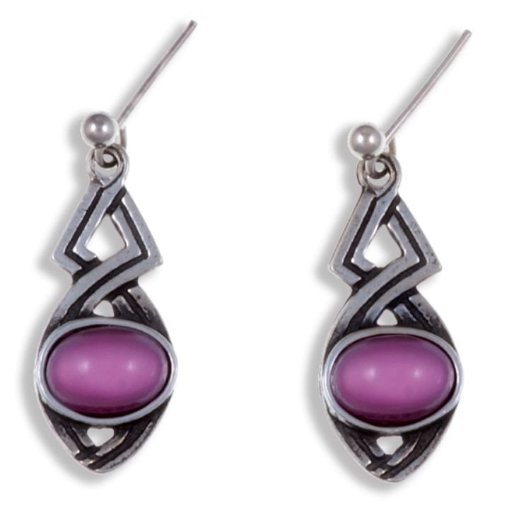 Image 1 of Celtic Twist Antiqued Red Glass Stone Stylish Pewter Sheppard Hook Earrings