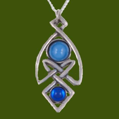 Image 0 of Celtic Knot Antiqued Blue Glass Stone Stylish Pewter Pendant