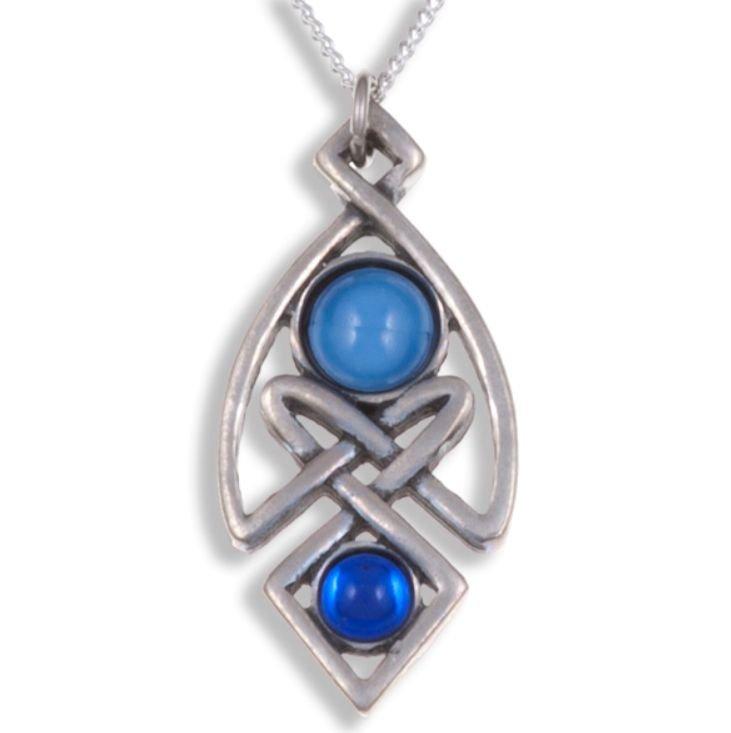 Image 1 of Celtic Knot Antiqued Blue Glass Stone Stylish Pewter Pendant