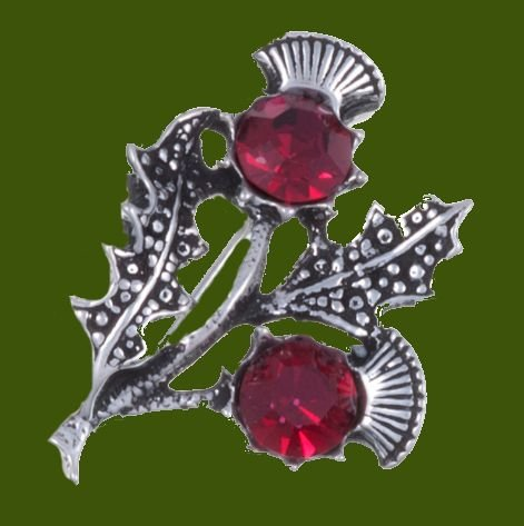 Image 0 of Double Flower Antiqued Red Glass Stone Thistle Stylish Pewter Brooch