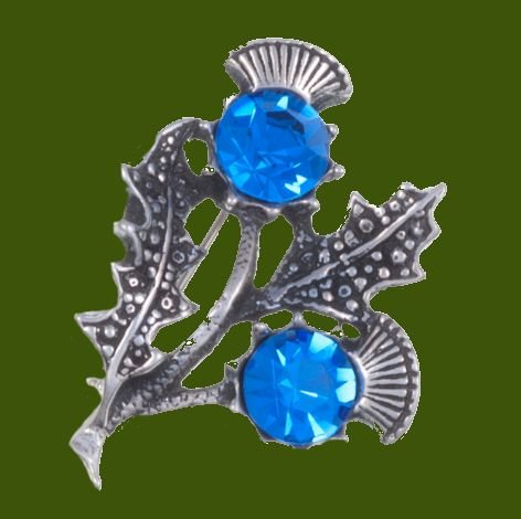 Image 0 of Double Flower Antiqued Blue Glass Stone Thistle Stylish Pewter Brooch