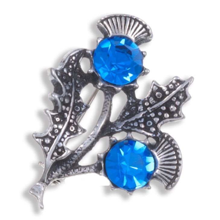 Image 1 of Double Flower Antiqued Blue Glass Stone Thistle Stylish Pewter Brooch