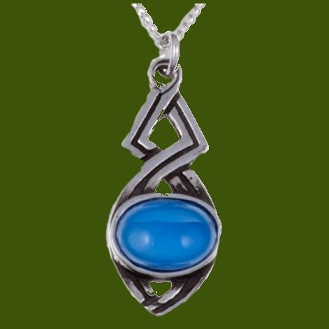 Image 0 of Celtic Twist Antiqued Blue Glass Stone Small Stylish Pewter Pendant