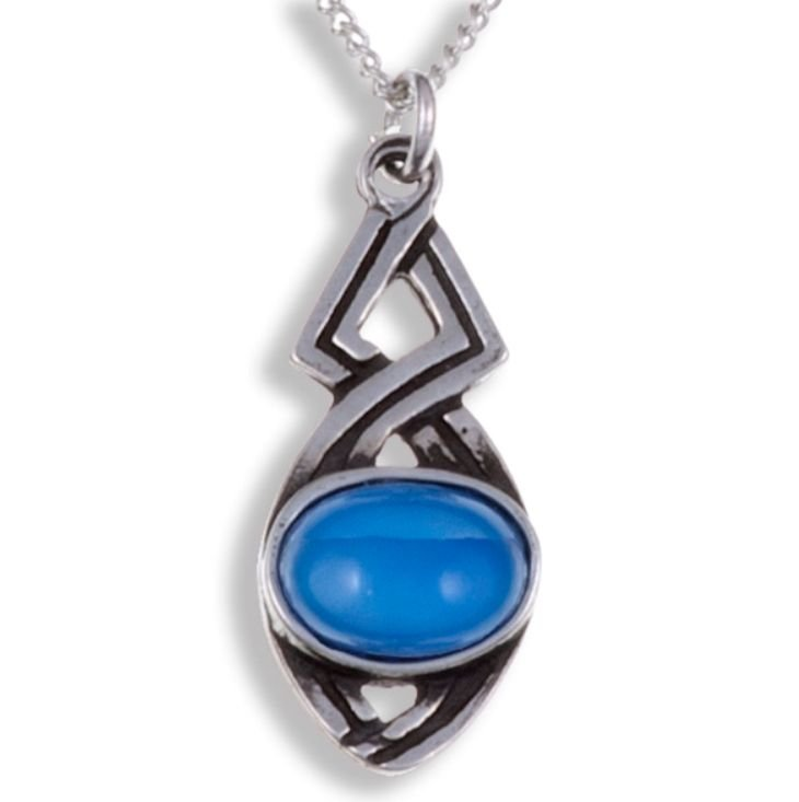 Image 1 of Celtic Twist Antiqued Blue Glass Stone Small Stylish Pewter Pendant