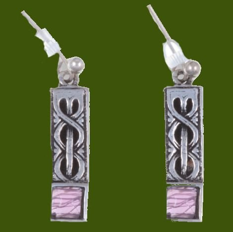 Image 0 of Celtic Knot Square Purple Glass Stone Stylish Pewter Sheppard Hook Earrings