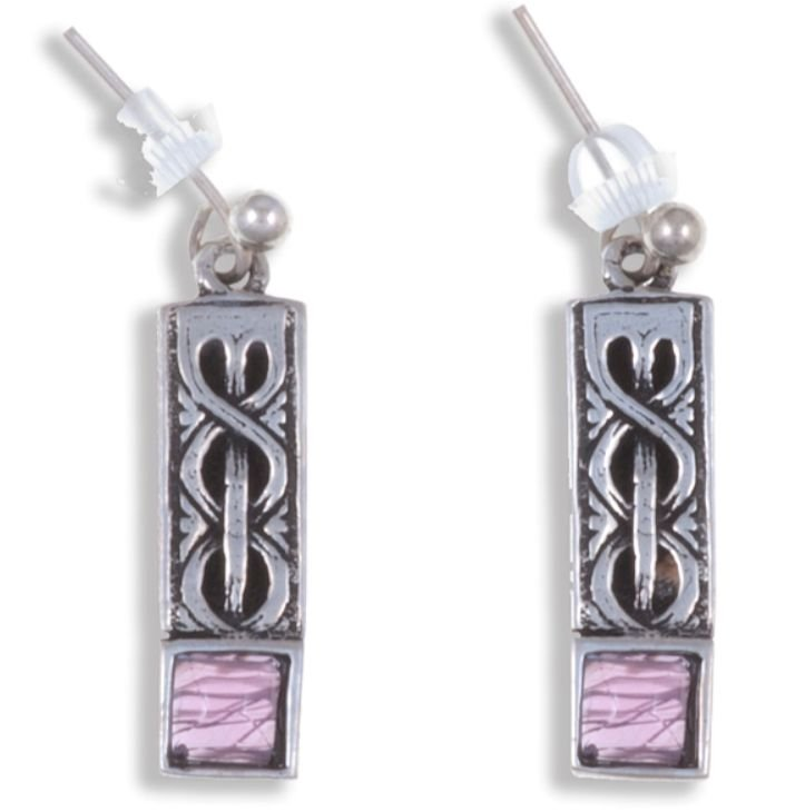 Image 1 of Celtic Knot Square Purple Glass Stone Stylish Pewter Sheppard Hook Earrings