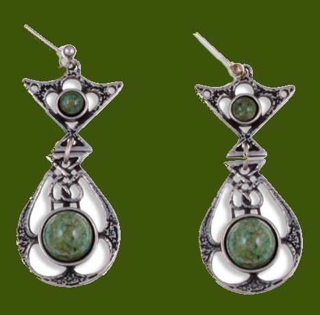 Image 0 of Celtic Knot Ornate Iona Glass Stone Stylish Pewter Sheppard Hook Earrings