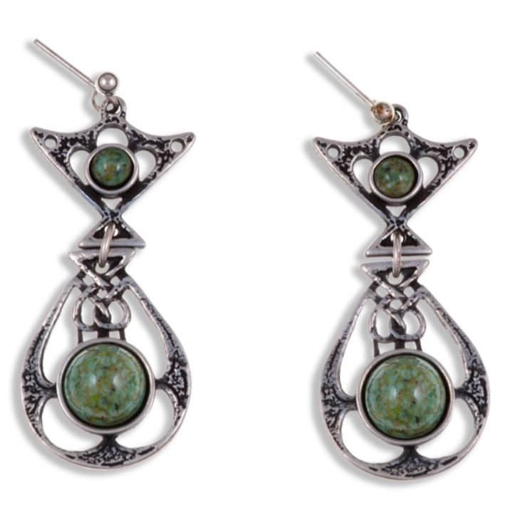 Image 1 of Celtic Knot Ornate Iona Glass Stone Stylish Pewter Sheppard Hook Earrings