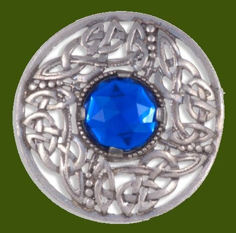 Image 0 of Celtic Open Knotwork Antiqued Blue Glass Stone Round Stylish Pewter Brooch