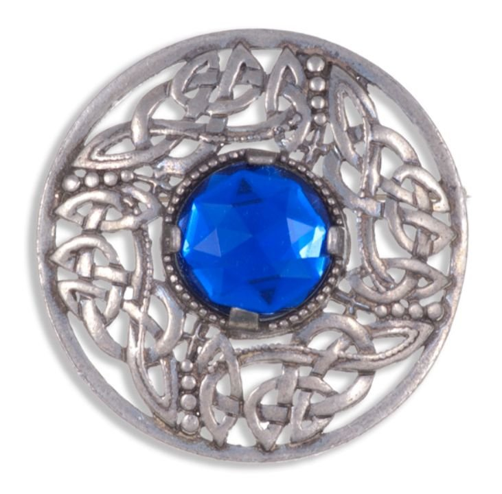 Image 1 of Celtic Open Knotwork Antiqued Blue Glass Stone Round Stylish Pewter Brooch