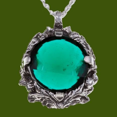 Image 0 of Thistle Antiqued Floral Emblem Green Glass Stone Stylish Pewter Pendant