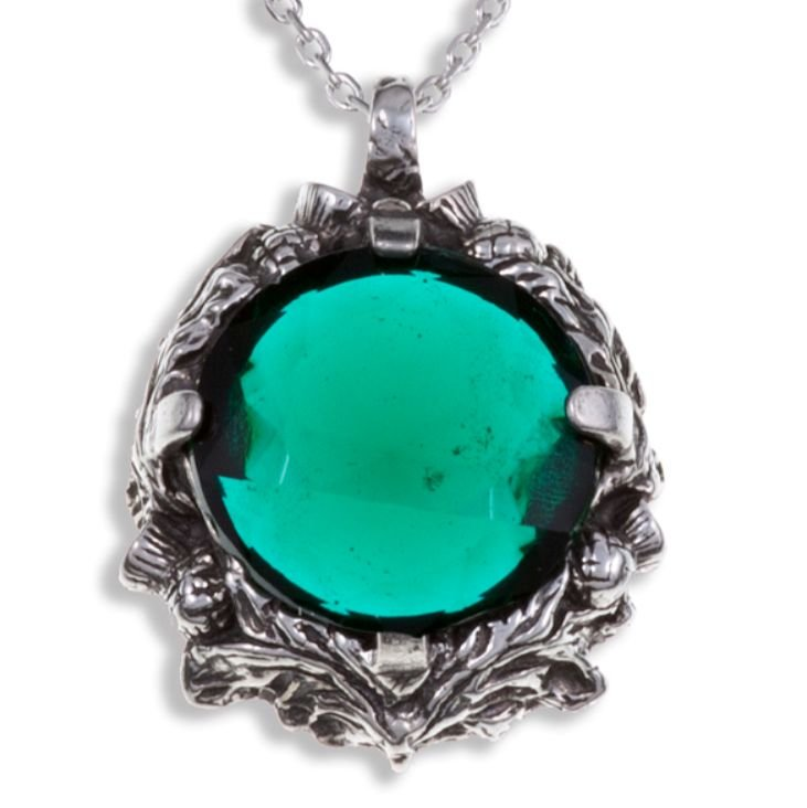 Image 1 of Thistle Antiqued Floral Emblem Green Glass Stone Stylish Pewter Pendant