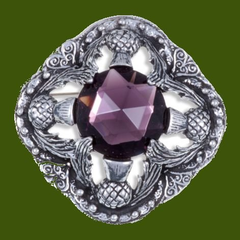Image 0 of Thistle Flower Antiqued Square Purple Glass Stone Stylish Pewter Brooch