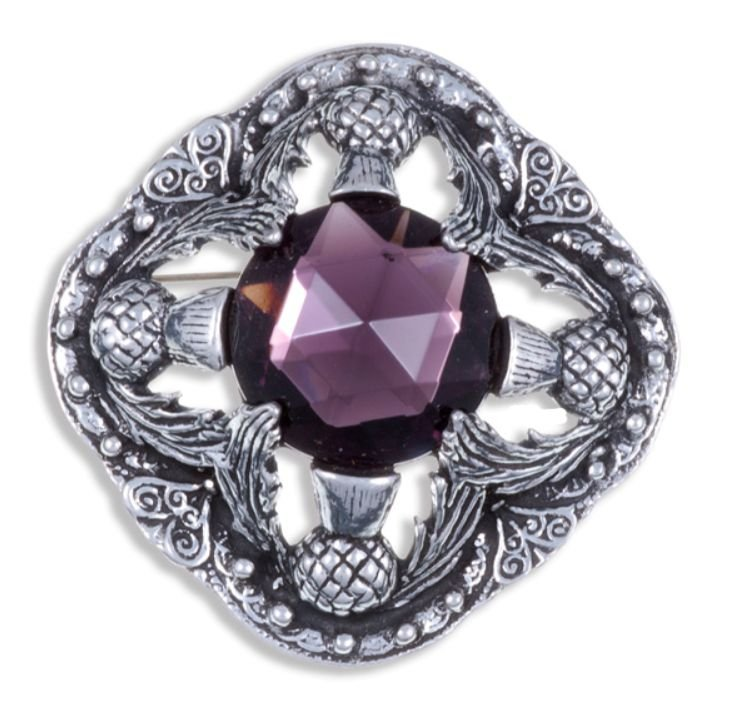 Image 1 of Thistle Flower Antiqued Square Purple Glass Stone Stylish Pewter Brooch