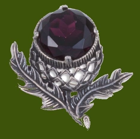 Image 0 of Thistle Flower Antiqued Purple Glass Stone Stylish Pewter Brooch