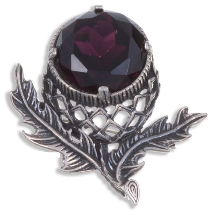 Image 1 of Thistle Flower Antiqued Purple Glass Stone Stylish Pewter Brooch