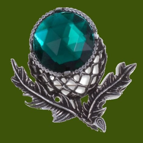 Image 0 of Thistle Flower Antiqued Green Glass Stone Stylish Pewter Brooch